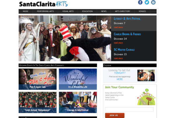 pantallazo de la pagina de inicio del diseño web de santa clarita